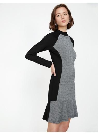 Koton Uzun Kollu Kareli Dar Elbise Renkli